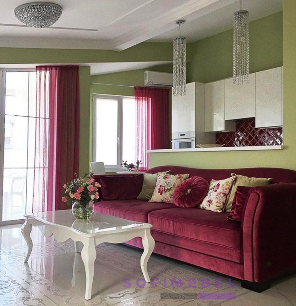 Бордовый диван под заказ